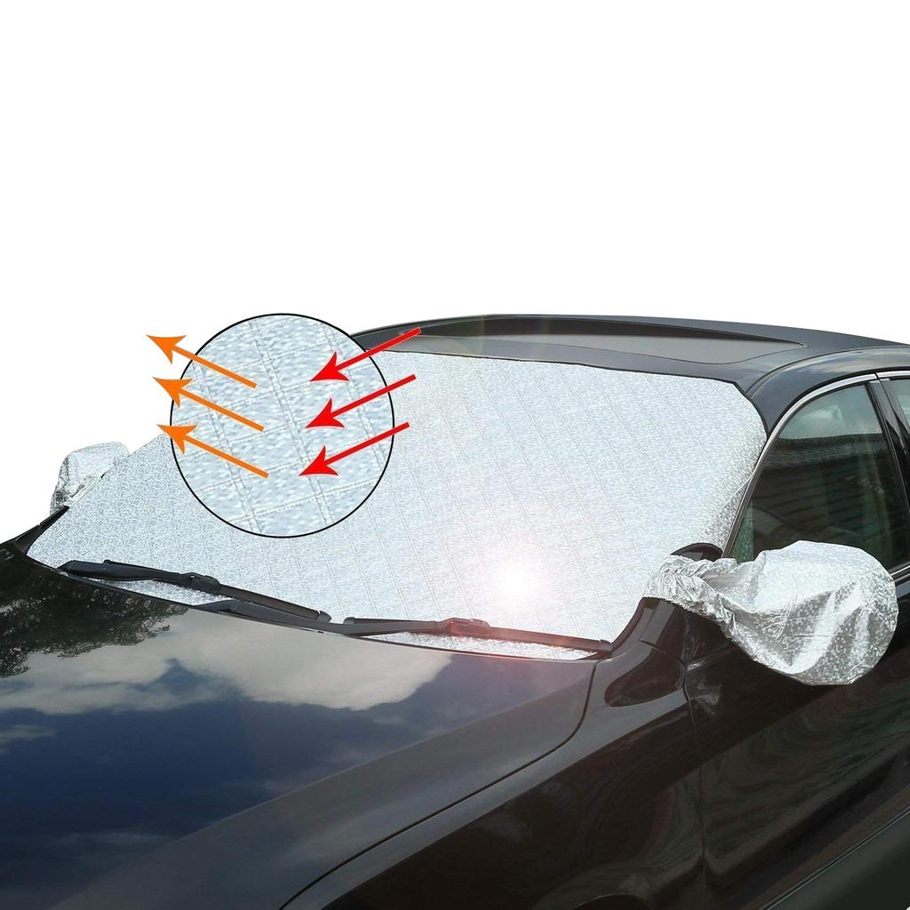 NEVERLAND Car Windshield Snow Cover Sun Shade Protector with Rear View Mirror Protector and Anti-Theft Edges
