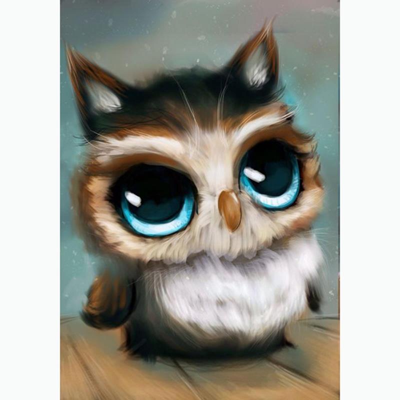 30×40cm的大眼睛的猫头鹰DIY钻石画花卉三维缝合刺绣压花满钻石