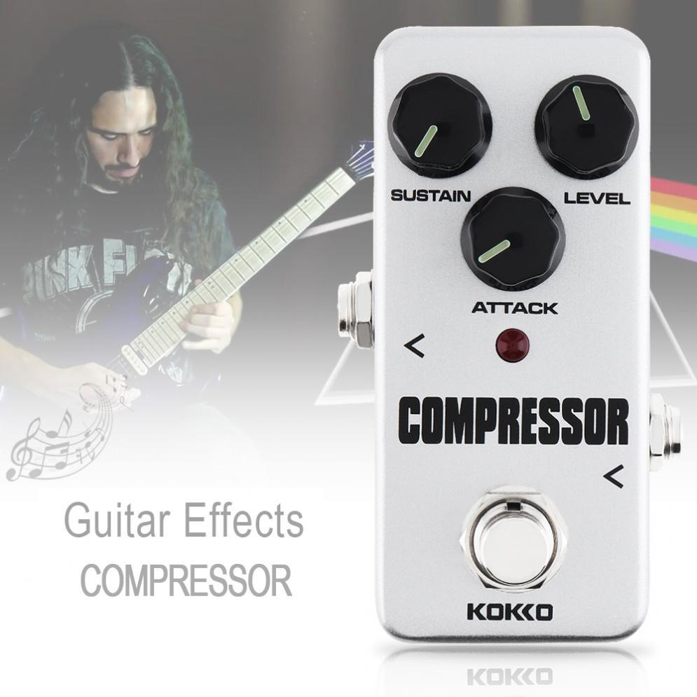 Silver Electric Guitar Compressor Effect Pedal Compression Guitar Supply