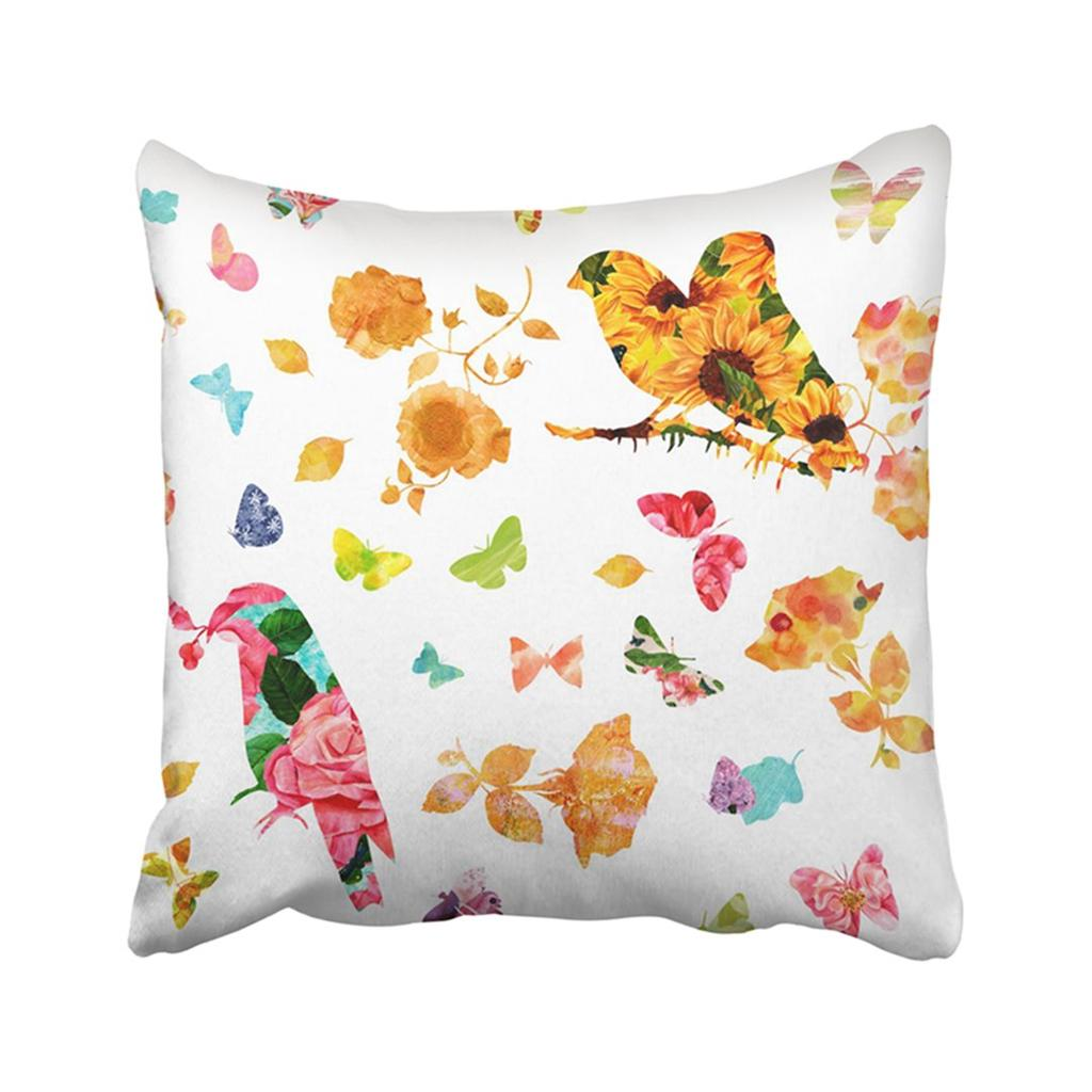 Silhouettes Of Birds Butterflies Flowers And Leaves Filled With Fancy Watercolor Pillowcase Pillow Cover 18x18inch 45x45cm Buy At A Low Prices On Joom E Commerce Platform