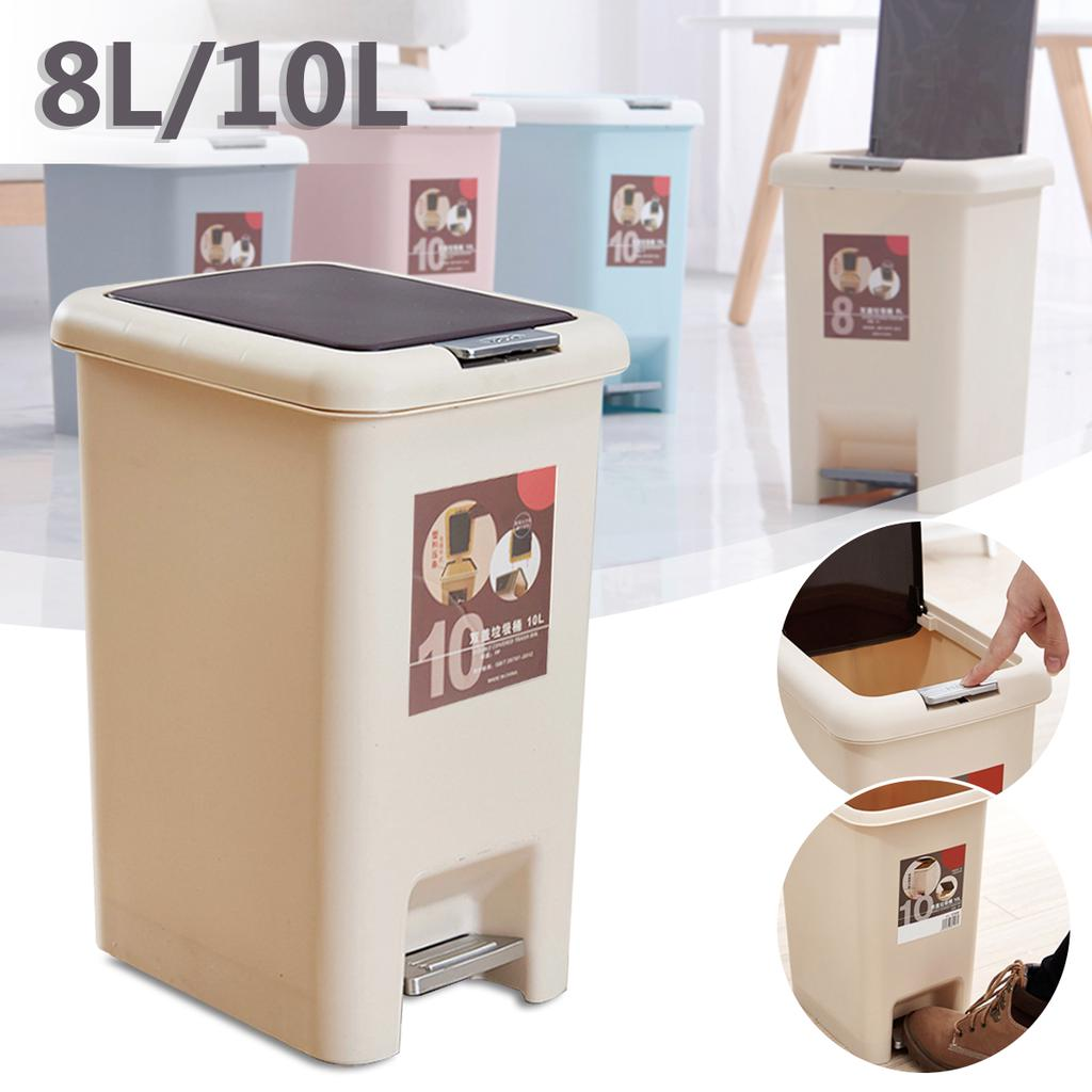 LARGE PLASTIC PEDAL BIN HOME OFFICE KITCHEN BATHROOM TOILET RUBBISH WASTE BIN