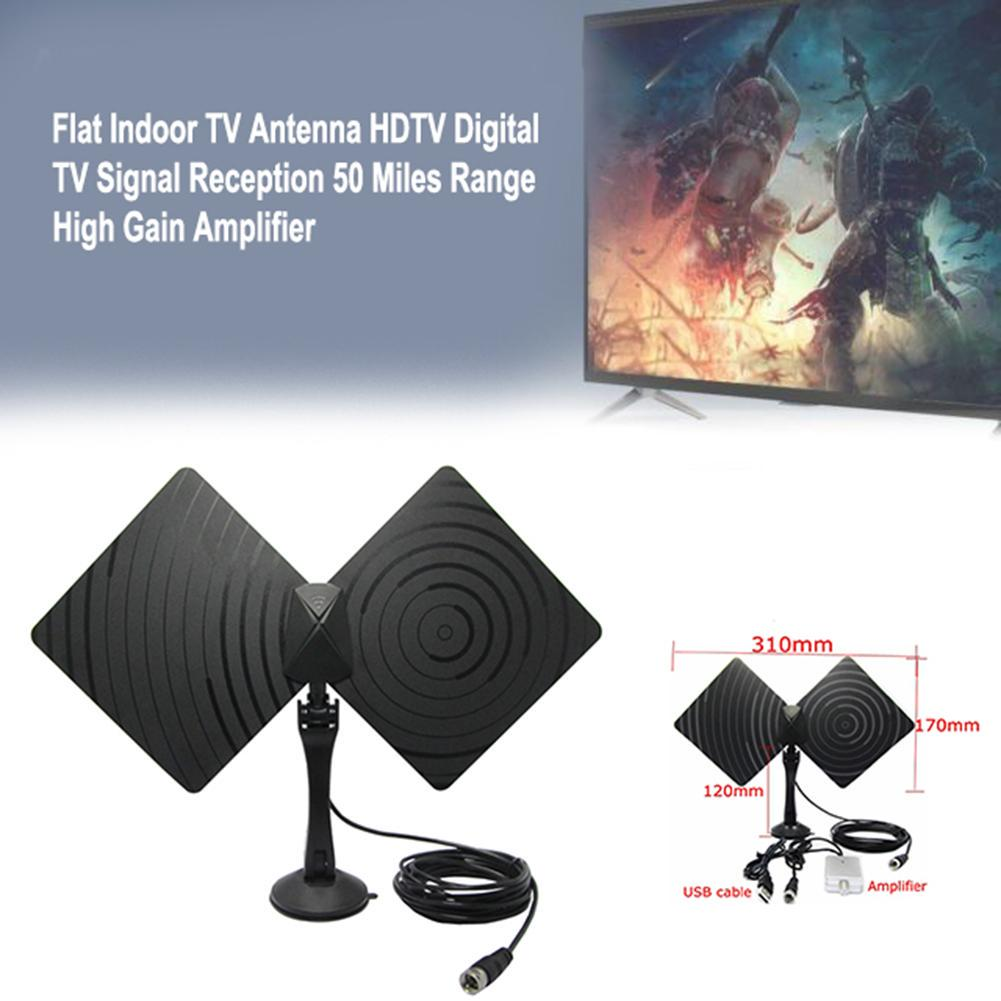 Leadzm 50miles Range Flat HD Digital Indoor Amplified TV Antenna with Amplifier