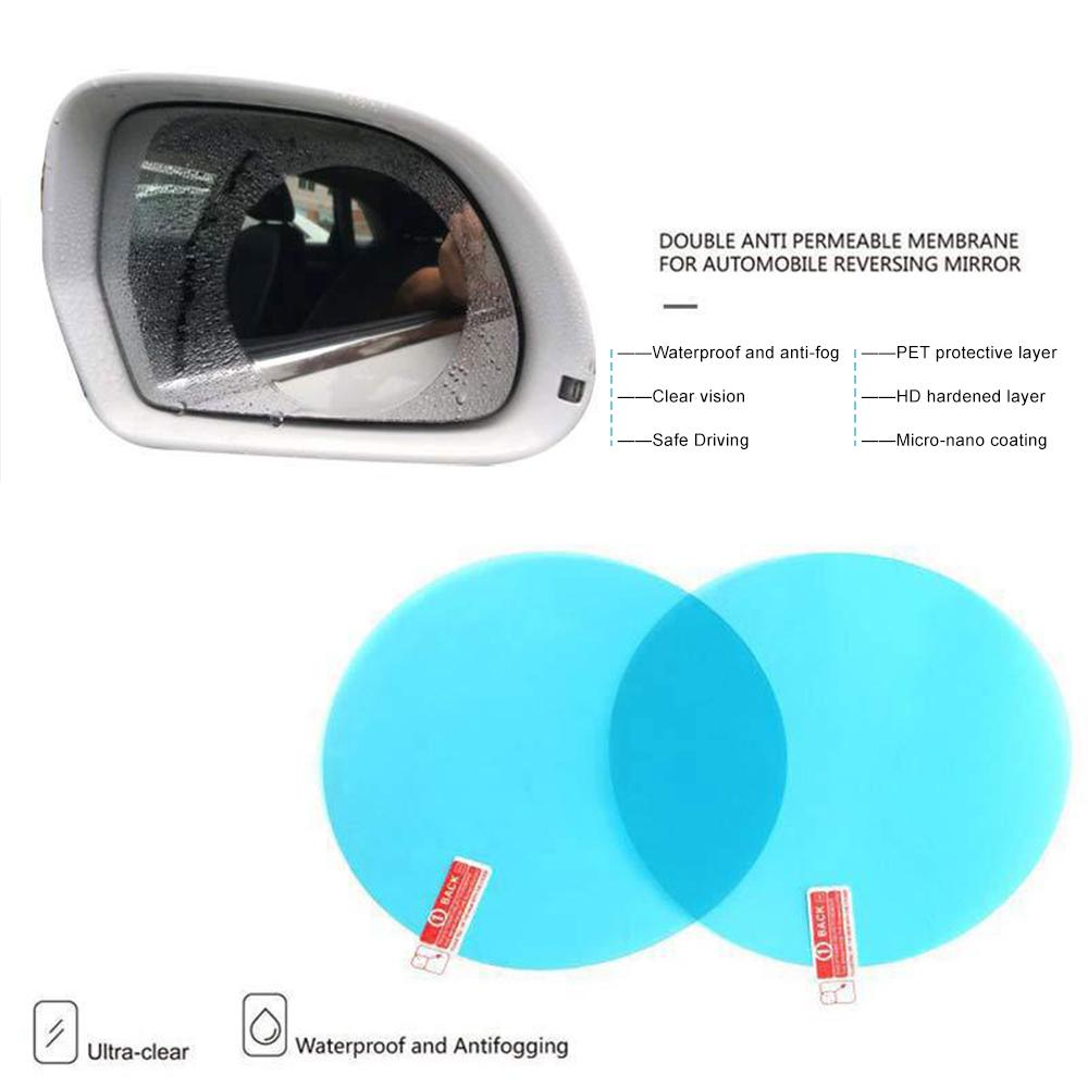 Rear View Film 2Pcs of Car Blind Spot Mirror Blue Protective Membrane for Window Waterproof and Anti Fog