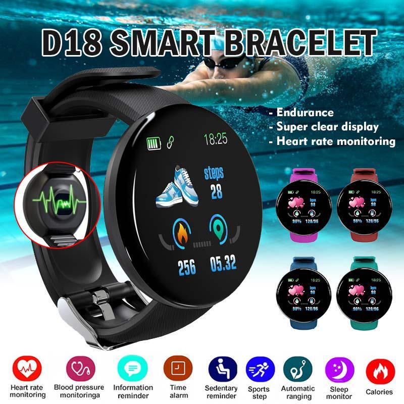 D18 Waterproof Bluetooth Smart Bracelet Sports Fitness Tracker ...