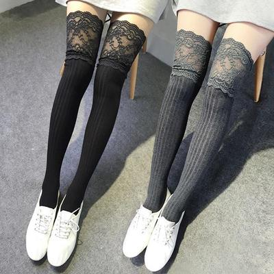 cb8086ba33f Women Knitting Lace Cotton Over Knee Thigh Stockings High Socks Pantyhose  Tights