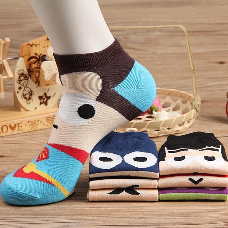Summer Super Hero Cartoon Men Casual Ankle Cotton Boat Sock
