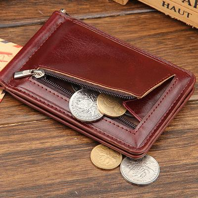 806c7dfb7383 Leather Men Wallets Coin Zipper Pocket Purse Bag Clamp for Money Card  Holder Slots Male Hasp