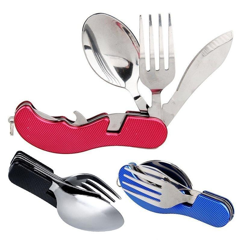 Outdoor Travel Folding  Fork Spoon With Bag Portable YD
