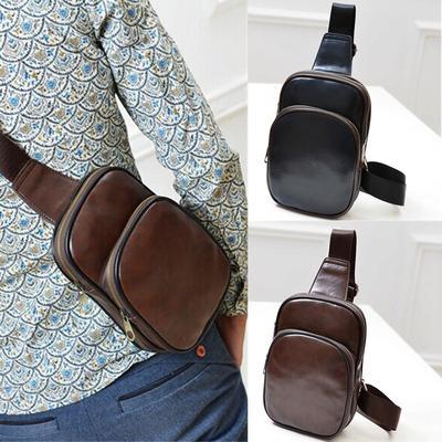 1b9556a97082 Мужская кожа груди слинг ранец плечо Crossbody мешок день Pack кошелек  рюкзак