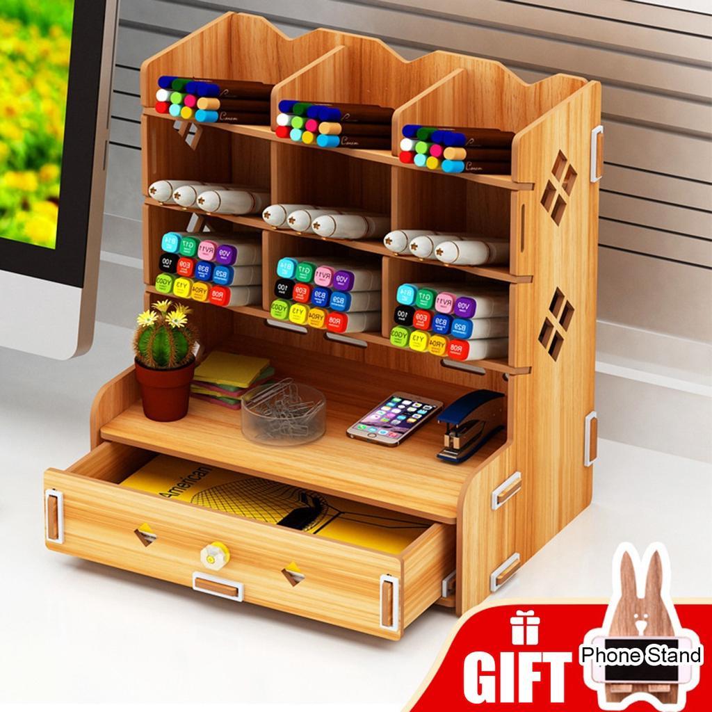 Tray Multifunction Desk Organizers Wood Office Pencil Holder Storage Desktop FS