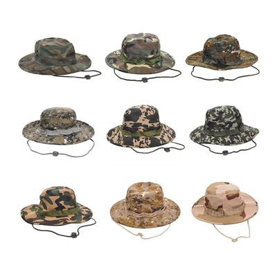 2235936fd28 Men Women Camouflage Military Wide Brim Bucket Camping Hunting Boonie Hat  Unsex Cap