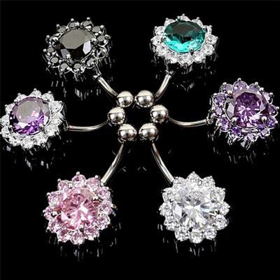 Acier inoxydable barre ventre nombril anneau cristal fleur Body Piercing femmesB