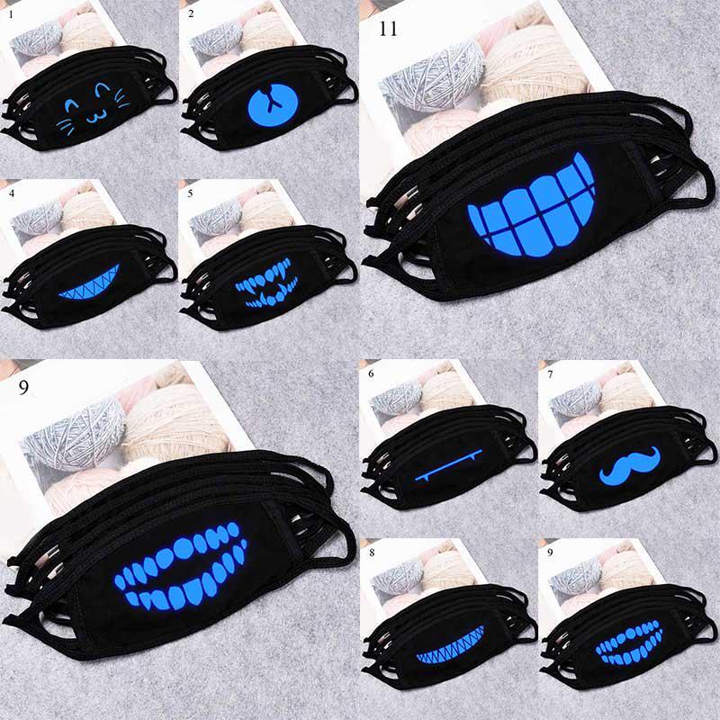 Зуб luminous Маска Хлопок Пыльная аниме Мультфильм женщина Мужчины светятся в темном рот Черная маска лица – купить по низким ценам в интернет-магазине Joom
