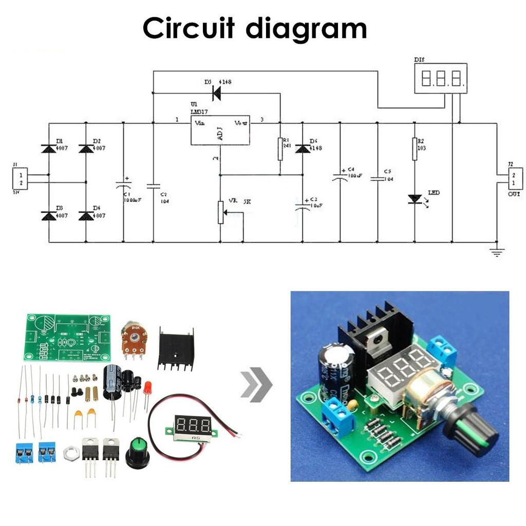 Diy Kit Led Lm317 Adjustable Voltage Regulator Step Down Module Miniature Motor Controller By Electronic Projects Circuits 1 Of 11