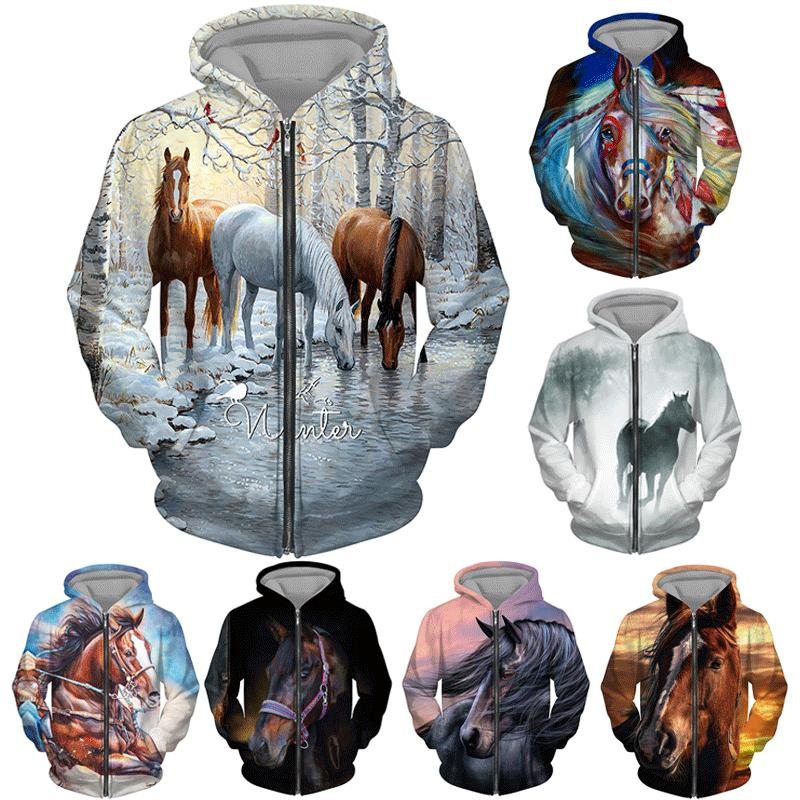 Animal Horse 3D Print Mens Womens Hoodie Sweatshirt Jacket Pullover Tops