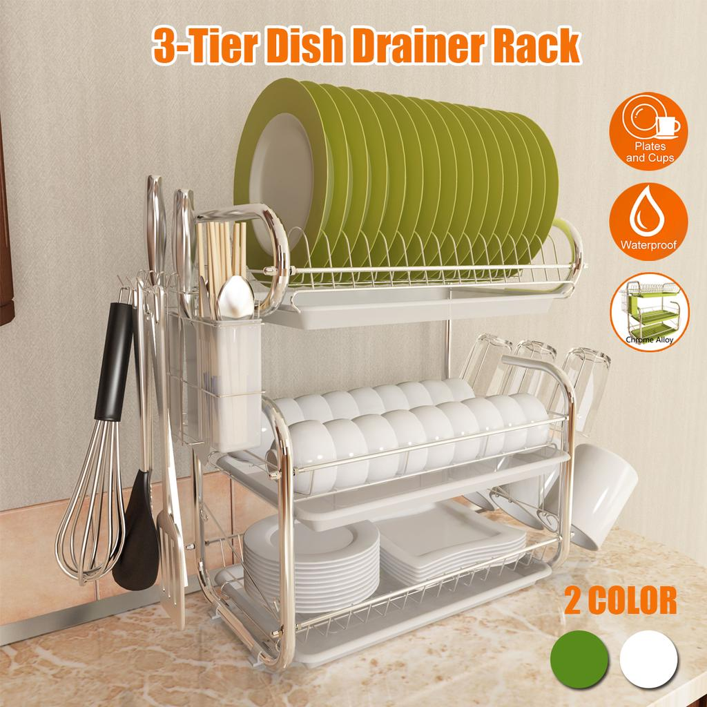 3 Layer Stainless Steel Cutlery Stand Shelf Cutlery Dish Rack Kitchen Dish Storage Rack Drain Buy From 83 On Joom E Commerce Platform