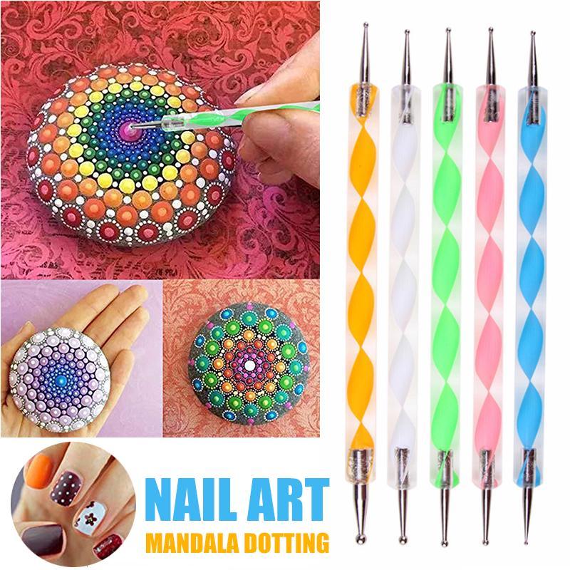 5pcs Dotting Painting Mandala Rocks Painting Tool Stick Carving Pottery Art Pen