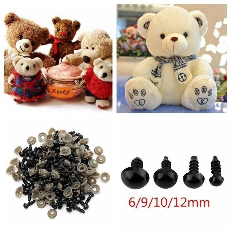 9mm 100pcs 6//9//10//12mm Black Plastic Doll Safety Eyes with Washer for Teddy Bear Felting Toys Plastic Doll Eyes