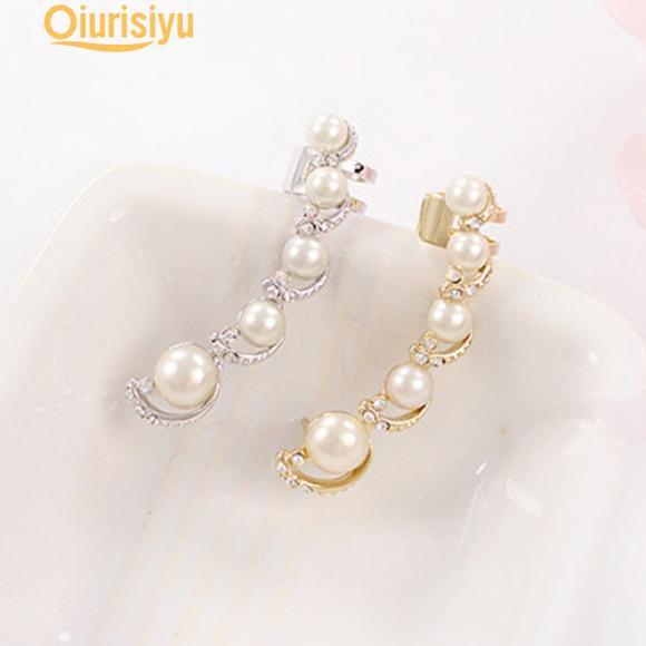 2 Paar Kristall Vergoldet Ohrstecker Doppel C Ohrring Perle Anhänger Eardro Hot