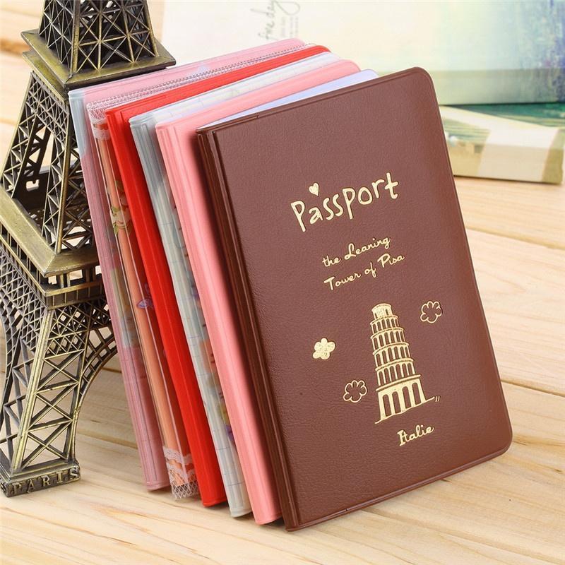 Porte-Passeport Protecteur en Cuir Brillant Porte-Carte Portefeuille Bourse Casual Couverture du Passeport Rose