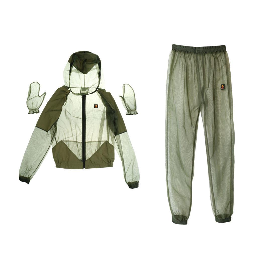 2Pcs Anti Mosquito Top Bug Bee Mesh Jacket Clothing Outdoor Fishing Hunting