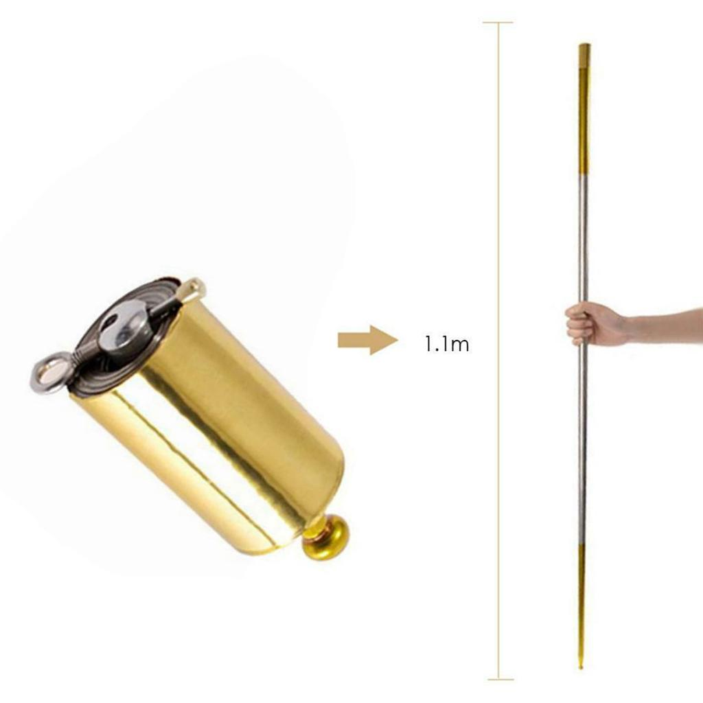 New Portable Steel Metal Magic Pocket Staff flexible Magical Wand Gold Toys 1.1m