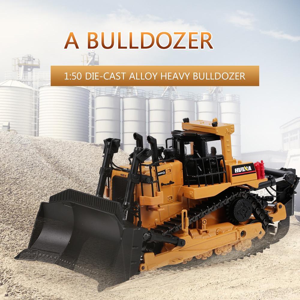 HUINA 1700 1//50 Metal Bulldozer Model RC Engineering Construction Car Vehicle