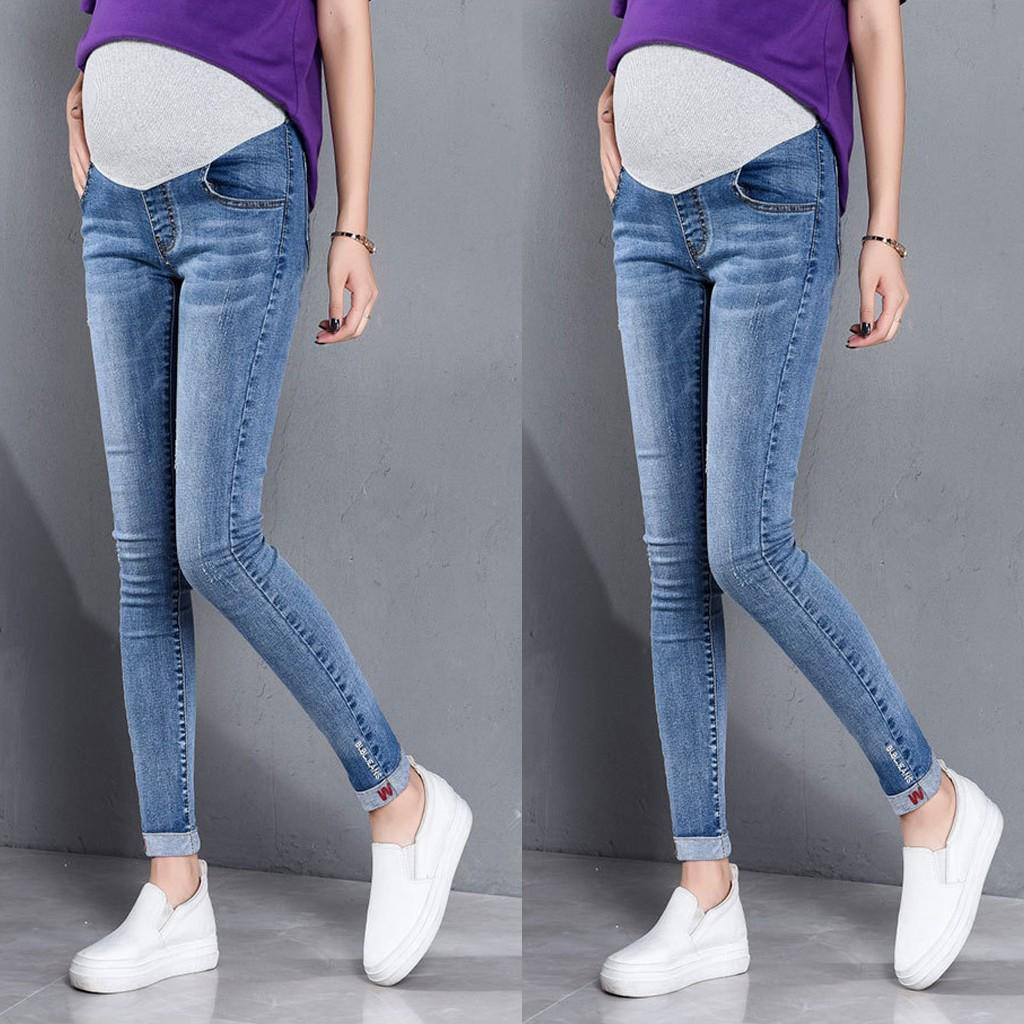 Womens Maternity Skinny Ankle Ripped Jeans Pregnant Trousers Slim for Women Nursing Prop Belly Legging