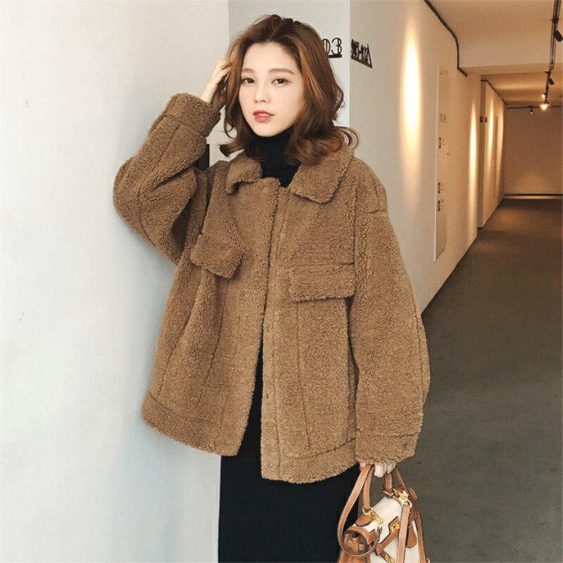 Урожай корейский бойфренд Теплый Куртка Случайный Роскошный колледж Куртка Fall Fleece Куртка Thicken Шерсть пальто – купить по низким ценам в интернет-магазине Joom