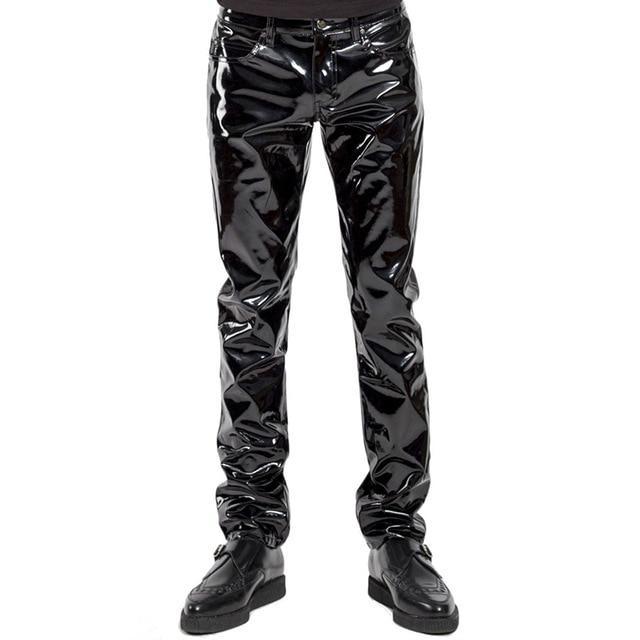 Mens PU Leather Shirt Short Sleeve Slim Fit Tops Zipper Wetlook Clubwear Shiny