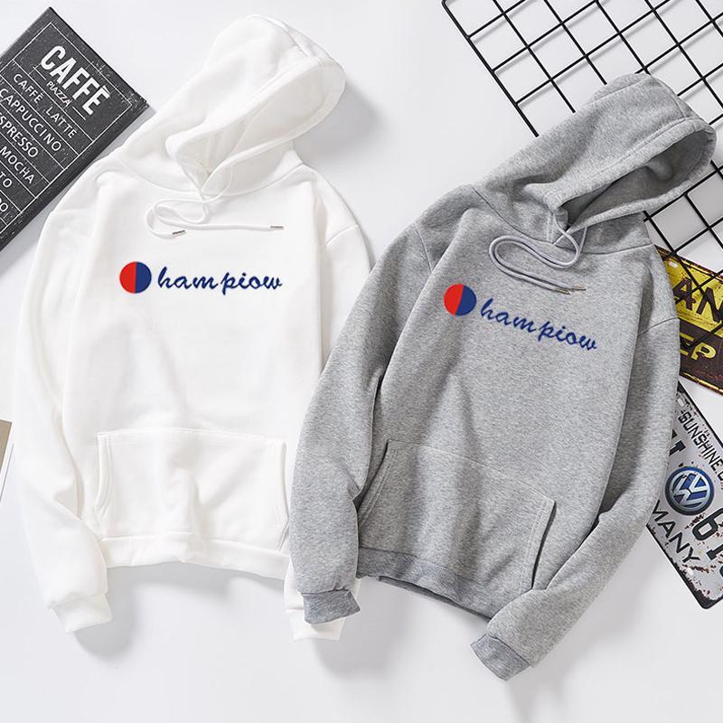Long Sleeve Letter Print Hoodies Coat Women Men Pocket Cotton Hooded Sweatshirt
