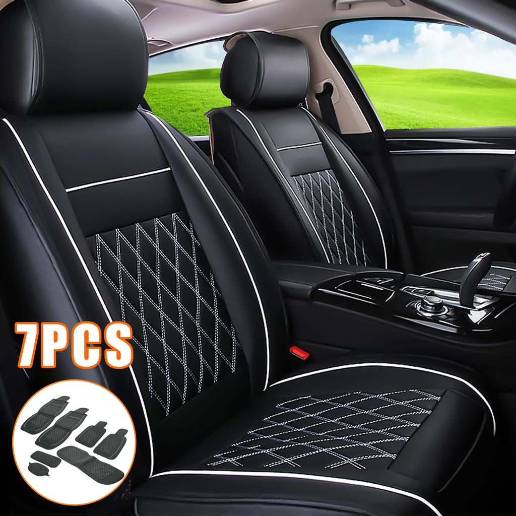 5-Seat Car Seat Covers PU Leather Front+Rear Full Set W//Pillows For All Seasons