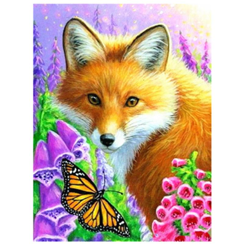 Beaded painting set Embroidery art Fox and butterfly DIY Bead Embroidery Kit Forest Animals Home wall decor Needlepoint kits