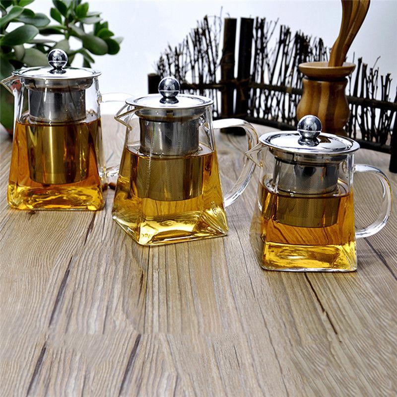 Жаростойкие прозрачного стекла чайник с Infuser чай кофе лист травяные горшок подарок фото