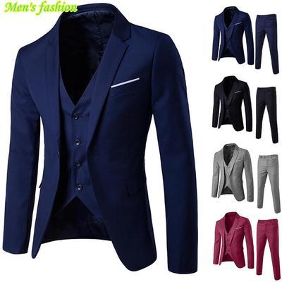 3-Piece Suit Blazer Business Men Suit Slim Wedding Party Jacket Vest /& Pants