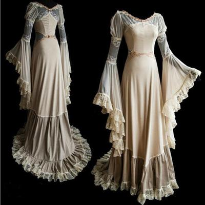 Women Dress Party Elegant Steampunk Victorian Gothic Long Dresses Vintage Lace Sleeveless V Neck Irregular Swing Dress Prom Gowns Halloween Costume Cosplay