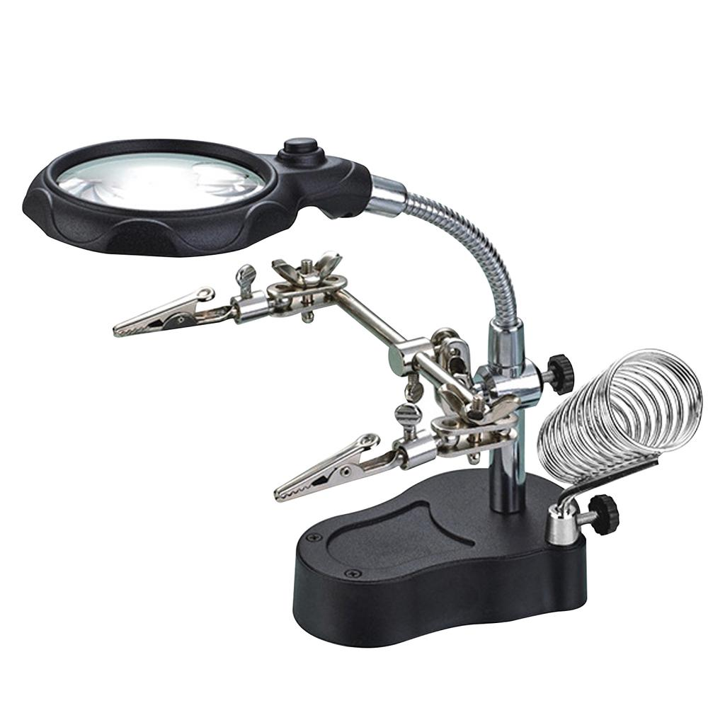 35x 12x Desktop Magnifier Led Light Helping Hands Table Magnifier Glass Stand With Alligator Clips Buy At A Low Prices On Joom E Commerce Platform