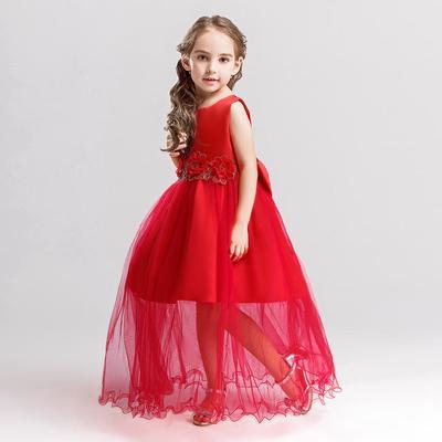 af084e632a3 Мода лук узел декор цветок девочки платье свадебное платье без рукавов  партии события