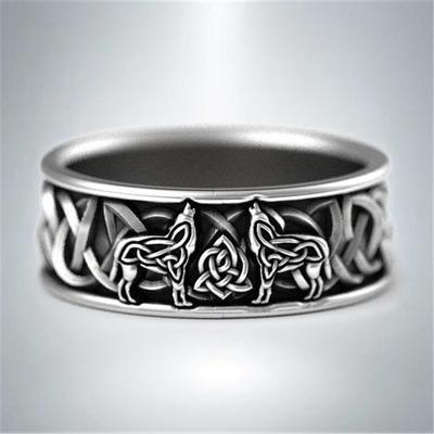 Amulet Ring Wolf Ring for Men Animal Wolf Jewelry for Men Boys Retro Wolf Totem Rings Wolf Signet Rings Norse Viking Wolf Head Ring