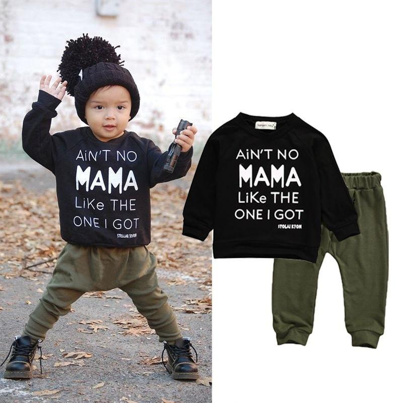 Toddler Kids Baby Boys Cotton Casual Clothes T-shirt Tops+Pants Outfits 2pcs Set