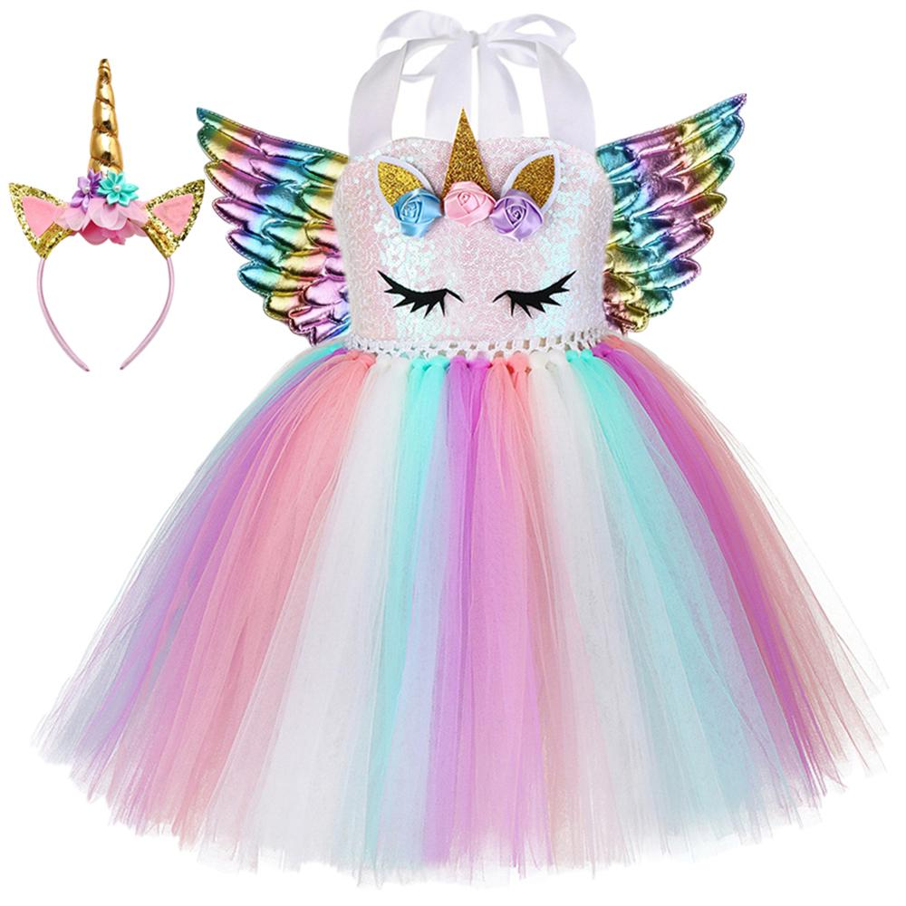 Kids Girl Unicorn Costume Cosplay Fancy Dress Princess Party Dresses Wing Outfit