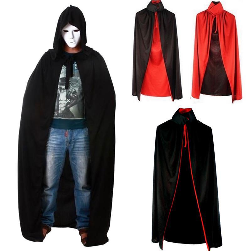 Con Capucha Unisex Manto gótico Wicca túnica Medieval Brujería Capa Halloween mostrar