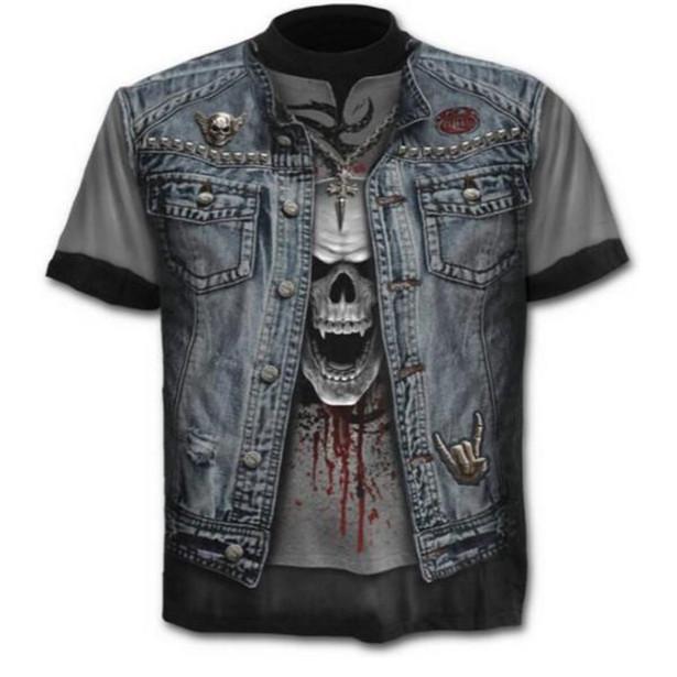 Tee Случайные O-Neck Короткие рукава Череп Дизайн Мужчины T Рубашка 3 D Печатные Harajuku Топы фото