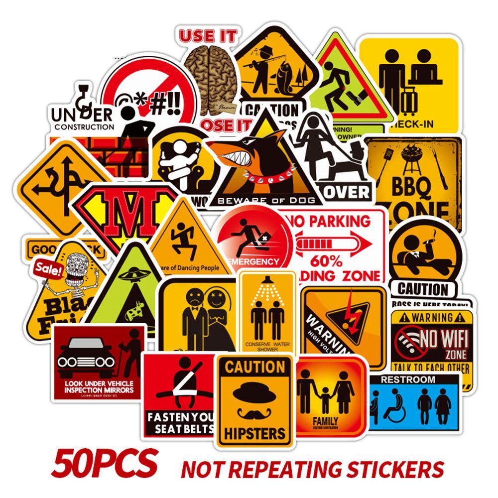 50pcs Star Harajuku Style Sticker Vinyl Roll Skate Skateboard Luggage Car Decals