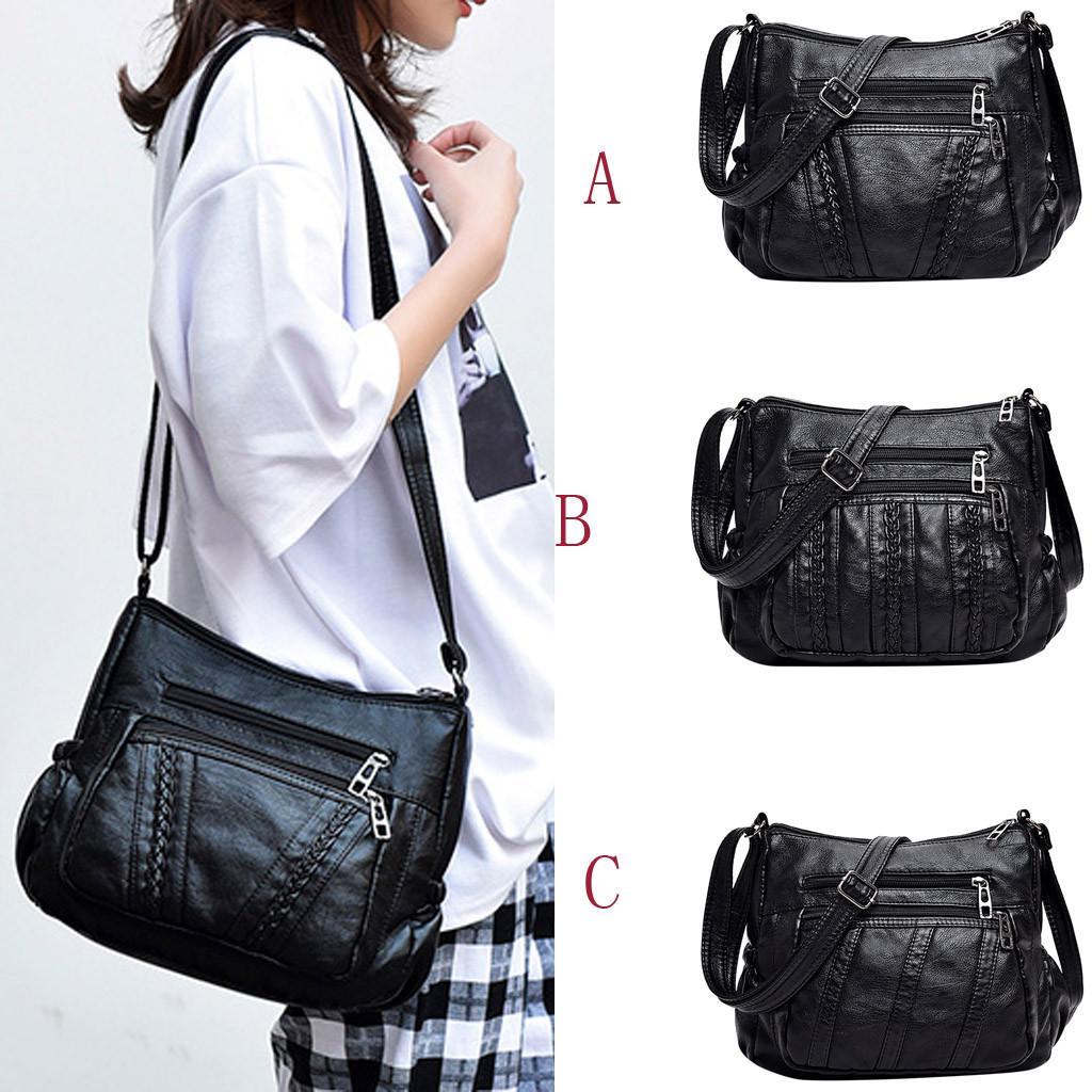Женская мода посланник мешок черный посланник мешок плечо сумка случайные дикие фото