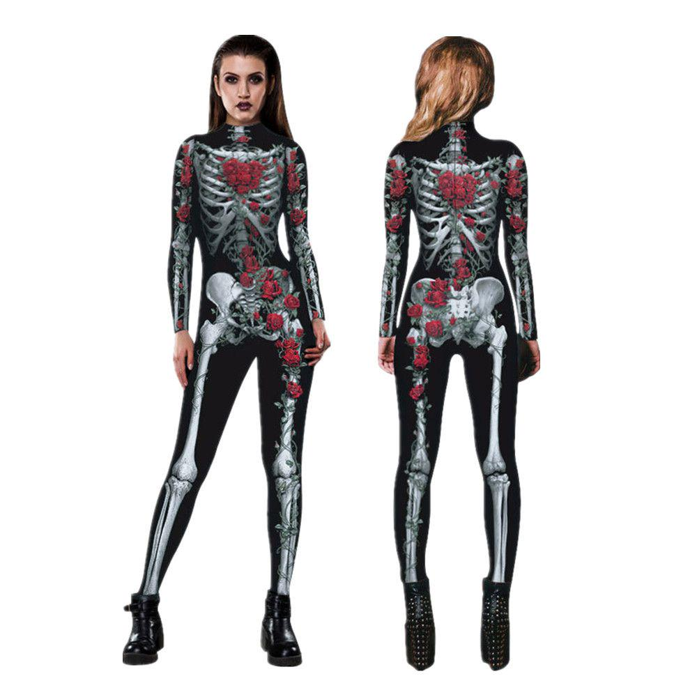 Women 3D Printing Jumpsuit Cosplay Party Costumes Halloween Skull Ghost Clothes