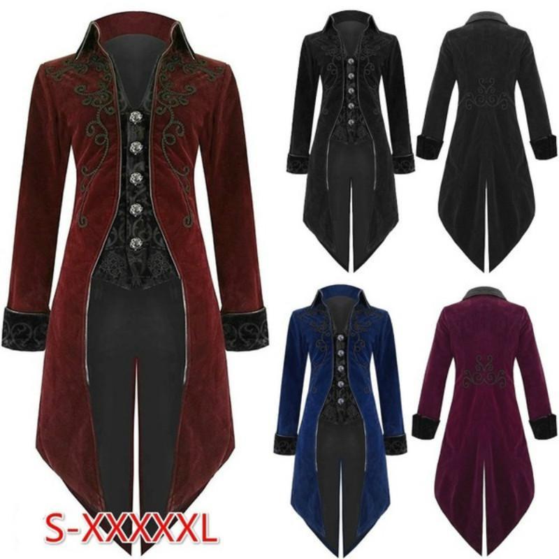 6 Style Halloween Vintage Steampunk Gothic Jacket,Fashion Popular Victorian Tailcoat Renaissance Stage Tuxedo,S-5XL