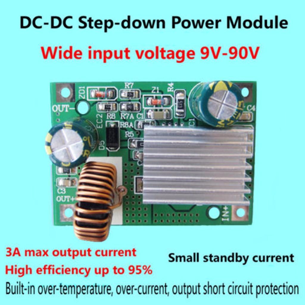 DC-DC Buck Step Down  9V-90V 84V 72V 60V 48V 36V to 12V 3A Power Supply Module