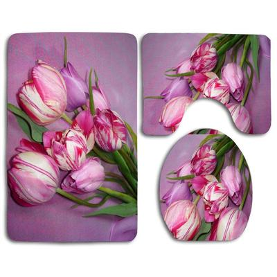 Tulips Purple Flowers Spring Holiday Easter Eggs 3 Piece Bathroom Rugs Set Bath Rug Contour Mat And Toilet Lid Cover Buy At A Low Prices On Joom E Commerce Platform