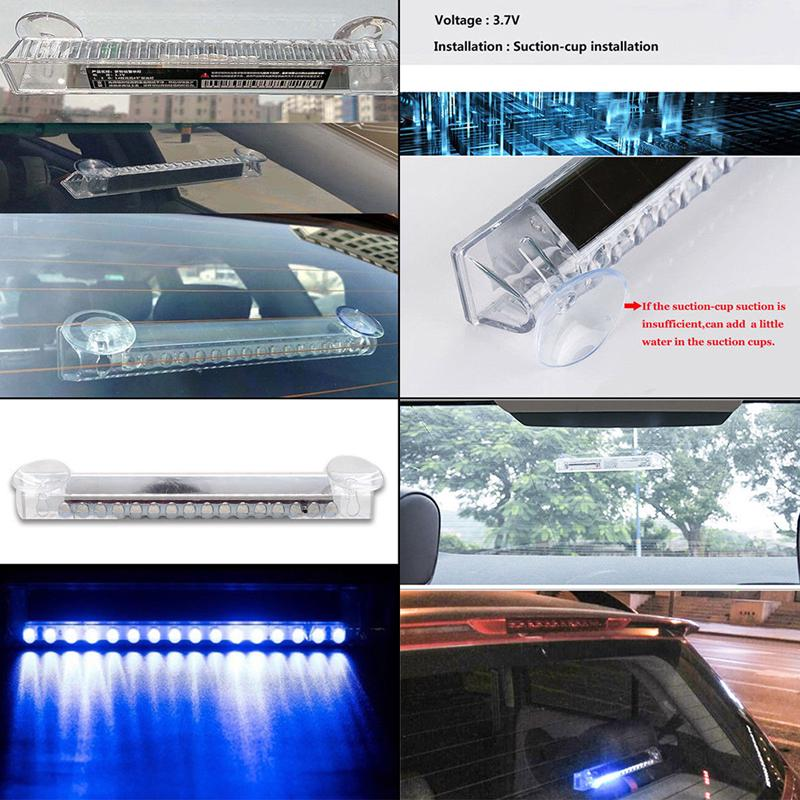 Car RGB LED Solar Remote Alarm Warning Strobe Flash Light Anti-theft Security